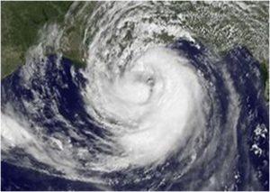 「台風が来る」の英語と例文
