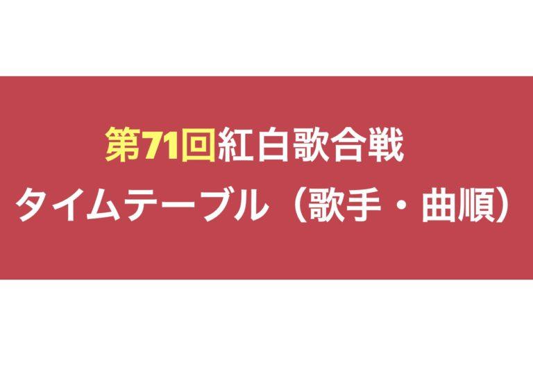 白歌合戦タイムテーブル(歌手名・曲順)